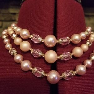 60s Tri Strand Pink Beads Made in Japan